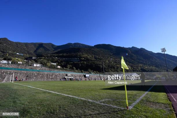 A general view of the action during the UEFA European Under 21 Championship Qualifier between Andorra U21 and England U21 on October 10 2017 in...