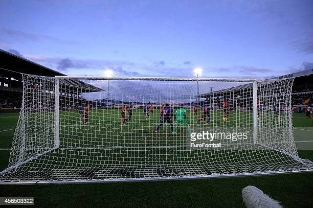 A general view of the action during the UEFA U21 Championship second leg playoff between Portugal and Netherlands at the Mata Real Stadium on October...