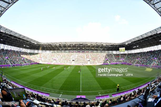 A general view of the action during the UEFA Women's Champions League Final between Olympique Lyonnais Women and FC Barcelona Women at Groupama Arena...