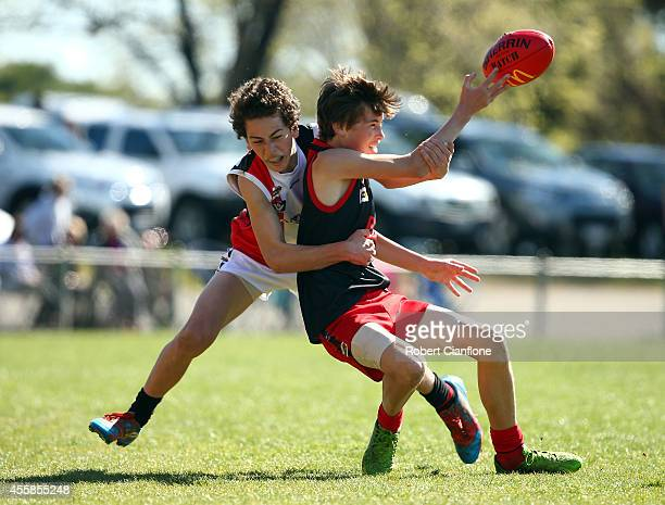 A general view of the action during the Under 15 Grand Final match between the Carisbrook Redbacks and the Trentham Saints during the Maryborough...