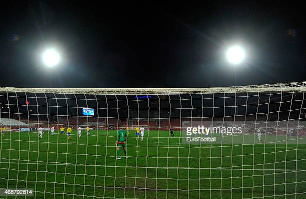 A general view of the action during the Under21 friendly football match between Serbia and Sweden on March 27 2015 at the Karadjordje Stadium in Novi...