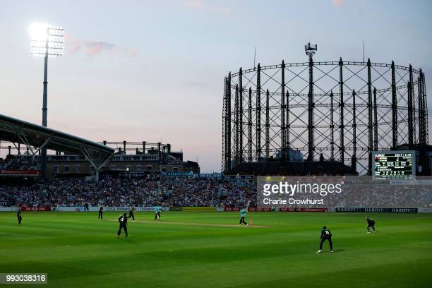 A general view of the action during the Vitality Blast match between Surrey and Kent Spitfires at The Kia Oval on July 6 2018 in London England