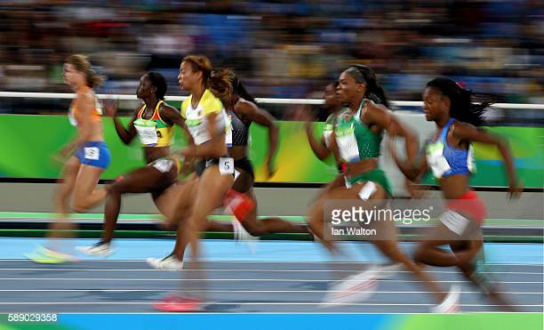 A general view of the action during the Women's 100m Round 1 on Day 7 of the Rio 2016 Olympic Games at the Olympic Stadium on August 12 2016 in Rio...