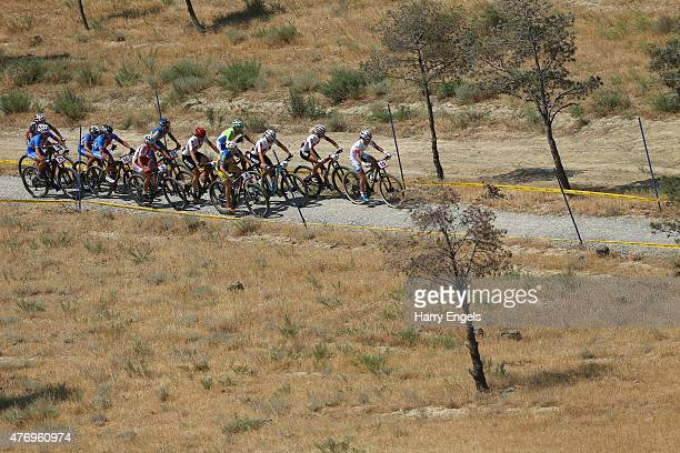 A general view of the action during the Womens' Crosscountry Mountain Bike Cycling during day one of the Baku 2015 European Games at Mountain Bike...