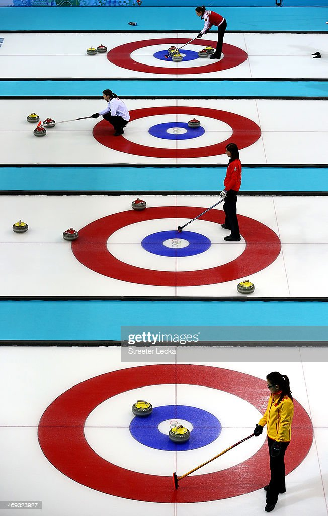 A general view of the action during the Women's Curling Round Robin matches on day seven of the Sochi 2014 Winter Olympics at Ice Cube Curling Center on February 14, 2014 in Sochi, Russia.
