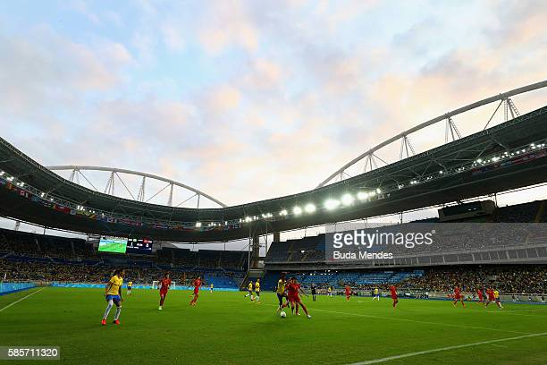 A general view of the action during the Women's Group E first round match between Brazil and China PR during the Rio 2016 Olympic Games at the...