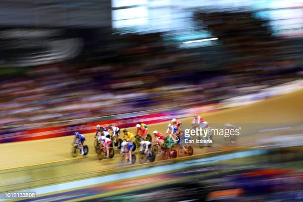 A general view of the action during the Women's Omnium Tempo Race during the track cycling on Day five of the European Championships Glasgow 2018 at...
