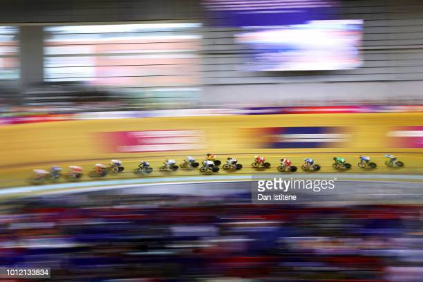 General view of the action during the Women's Omnium Tempo Race during the track cycling on Day five of the European Championships Glasgow 2018 at...