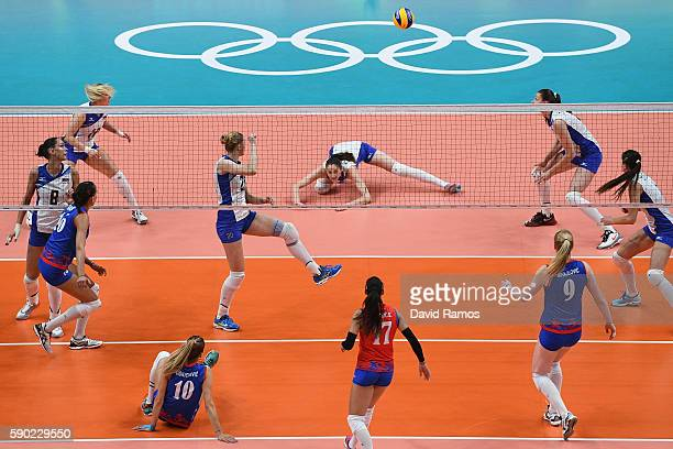 general view of the action during the Women's Quarterfinal match between Russia and Serbia on day 11 of the Rio 2106 Olympic Games at the...