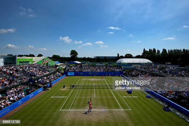 A general view of the action during the Women's Singles semifinal match between Johanna Konta of Great Britain and Magdalena Rybarikova of Slovakia...