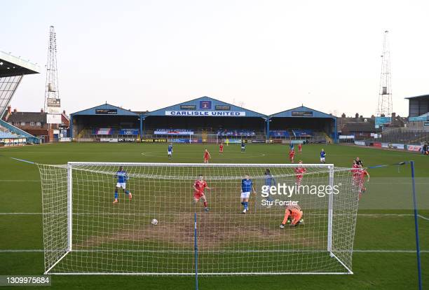 General view of the action from behind the goal at Brunton Park during the Sky Bet League Two match between Carlisle United and Crawley Town at...