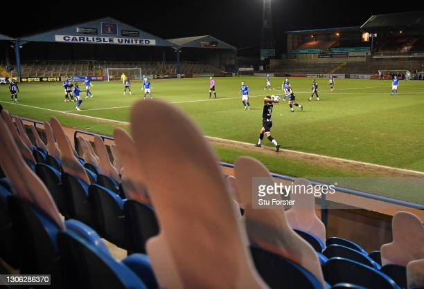General view of the action from between the cardboard cut out fans during the Sky Bet League Two match between Carlisle United and Grimsby Town at...