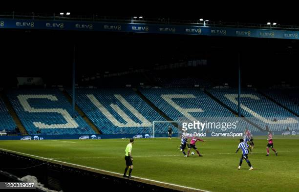 General view of the action Hillsborough Stadium, home of Sheffield Wednesday during the Sky Bet Championship match between Sheffield Wednesday and...