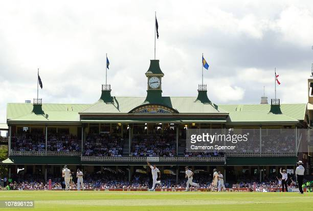 A general view of the action in front of the Member's Pavilion as Tim Bresnan of England dismisses Phil Hughes of Australia during day four of the...