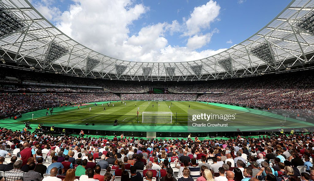 A general view of the action in the first half during the Pre-Season Friendly between West Ham United and Juventus at The Olympic Stadium on August 7, 2016 in London, England.