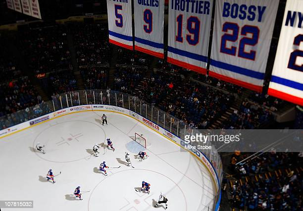 General view of the action in the game between the Pittsburgh Penguins and the New York Islanders on December 29, 2010 at Nassau Coliseum in...