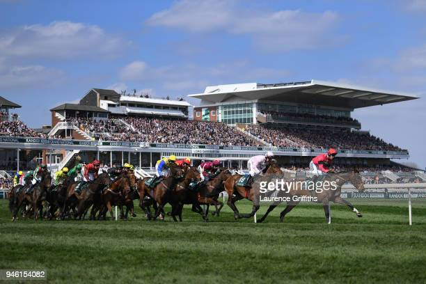 A general view of the action in The Gaskells Handicap Hurdle Race at Aintree Racecourse on April 14 2018 in Liverpool England