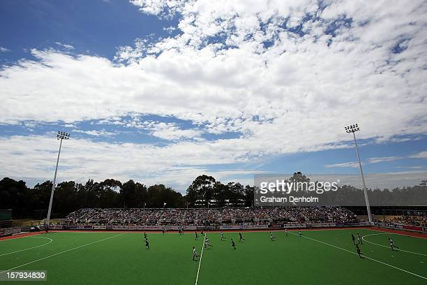 General view of the action in the match between Germany and New Zealand during day five of the 2012 Champions Trophy at the State Netball and Hockey...