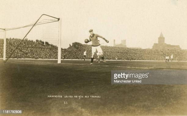 A general view of the action in the match between Manchester United and Liverpool the first ever game played at Old Trafford on February 19 1910 in...