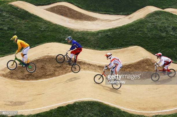 General view of the action in the Men's BMX Quarter finals at the Laoshan Bicycle Moto Cross Venue during Day 12 of the Beijing 2008 Olympic Games on...
