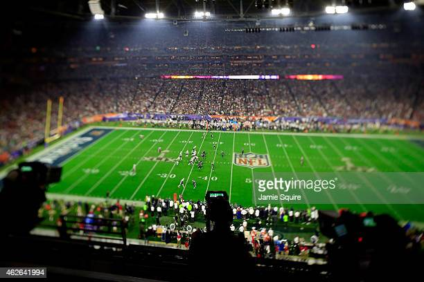 General view of the action in the second half during Super Bowl XLIX between Seattle Seahawks and New England Patriots at University of Phoenix...
