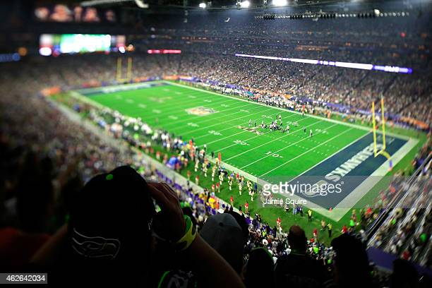 A general view of the action in the second half during Super Bowl XLIX between Seattle Seahawks and New England Patriots at University of Phoenix...