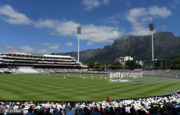 General view of the action in the shadow of Table Mountain during Day Two of the Second Test between South Africa and England at Newlands on January...