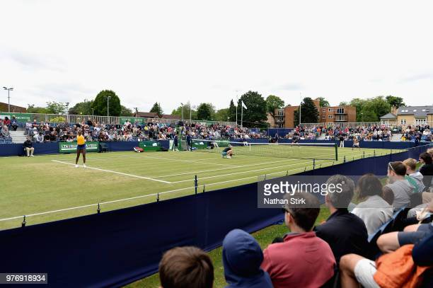 A general view of the action in the Womens Doubles Final during Finals Day of the Fuzion 100 Manchester Trophy at The Northern Lawn Tennis Club on...
