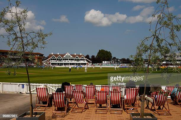 General view of the action infront of the new pavillion during day two of the LV County Championship Division One match between Somerset and...