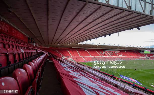General view of the action inside the Riverside Stadium, home of Middlesbrough during the Sky Bet Championship match between Middlesbrough and Stoke...