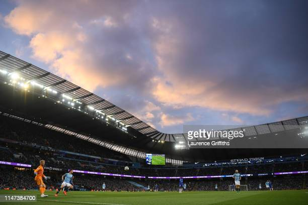 General view of the action inside the stadium during the Premier League match between Manchester City and Leicester City at Etihad Stadium on May 06,...