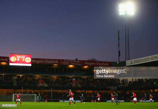 A general view of the action inside the stadium during the U21 international friendly match between Denmark and England at BioNutria Park on March 27...