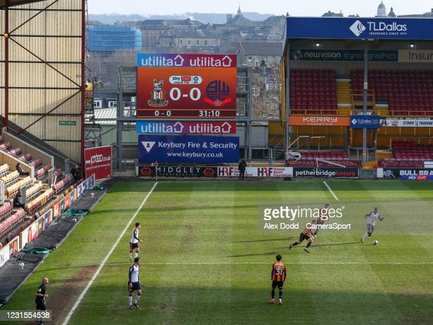 General view of the action inside Valley Parade, home of Bradford City during the Sky Bet League Two match between Bradford City and Bolton Wanderers...