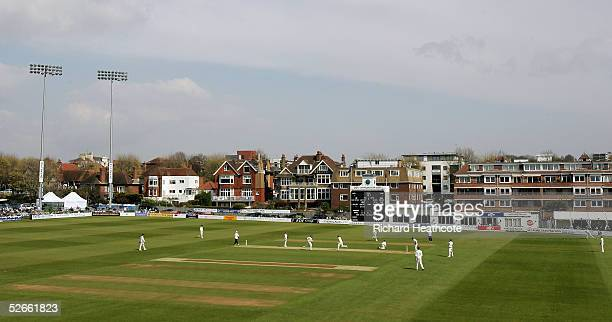 General view of the action on day one of the Frizzell County Championship Division 1 match between Sussex and Hampshire, at Hove Cricket Ground on...
