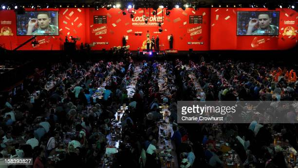 A general view of the action on day two of the Ladbrokescom World Darts Championship at Alexandra Palace on December 15 2012 in London England