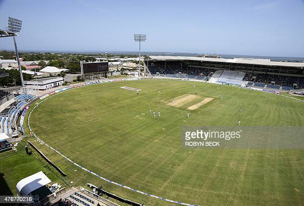 A general view of the action on the first day of the second cricket Test between Australia and the West Indies June 11 2015 at Sabina Park in...