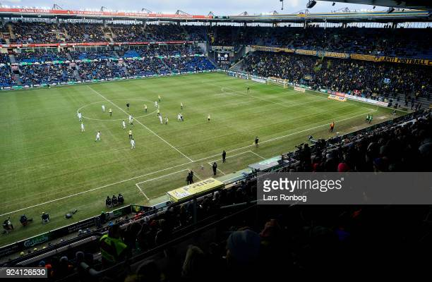 General view of the action, the stands and the stadium during the Danish Alka Superliga match between Brondby IF and FC Helsingor at Brondby Stadion...