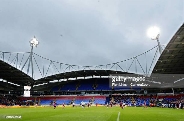 General view of the action under floodlights at the University of Bolton Stadium, home of Bolton Wanderers during the Sky Bet League One match...