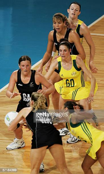 General view of the action under the goal during the gold medal netball match between Australia and New Zealand at the State Netball & Hockey Centre...