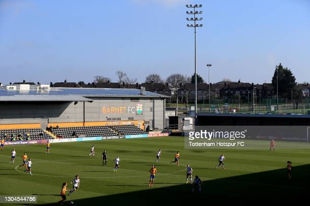 General view of the action underway during the Barclays FA Women's Super League match between Tottenham Hotspur Women and Everton Women at The Hive...