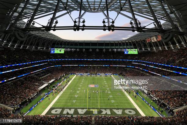 A general view of the action underway during the NFL match between Chicago Bears and Oakland Raiders at Tottenham Hotspur Stadium on October 06 2019...