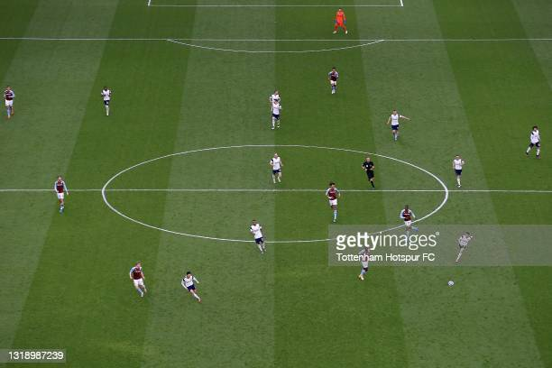 General view of the action underway during the Premier League match between Tottenham Hotspur and Aston Villa at Tottenham Hotspur Stadium on May 19,...