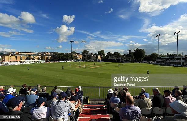A general view of the action underway during the Royal London OneDay Cup match between Essex and Kent at the Ford County Ground on June 15 2016 in...