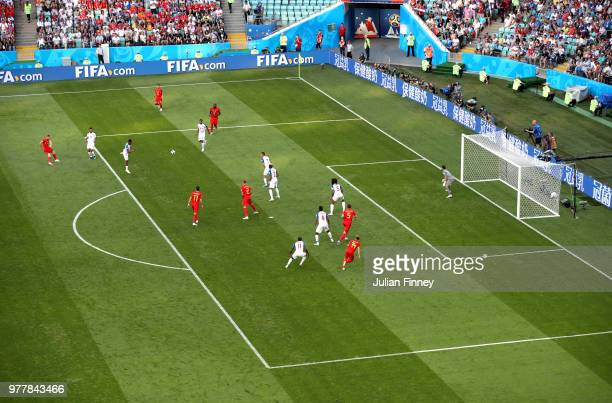 A general view of the action while Kevin De Bruyne of Belgium shoots at atrget during the 2018 FIFA World Cup Russia group G match between Belgium...