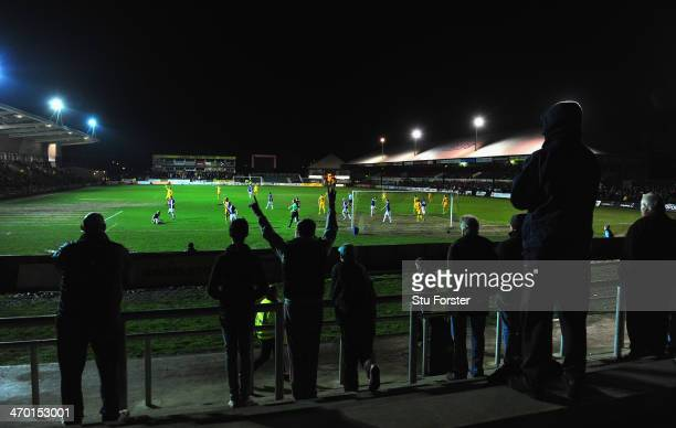 General view of the acton as football returns to Rodney Parade after the bad weather had postponed their previous few home games during the Sky Bet...