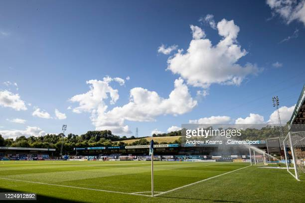 General view of the Adams Park pitch being watered pre-match during the Sky Bet League One Play Off Semi-final 2nd Leg match between Wycombe...