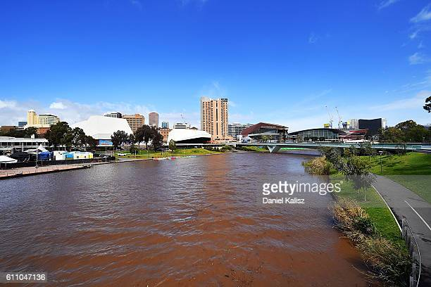 A general view of the Adelaide Festival Centre and River Torrens showing muddy water flowing on September 29 2016 in Adelaide Australia South...