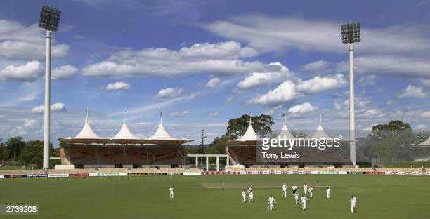 General view of the Adelaide Oval showing the new permanent eastern stands as players leave the field for tea in the ING Cup match between the...