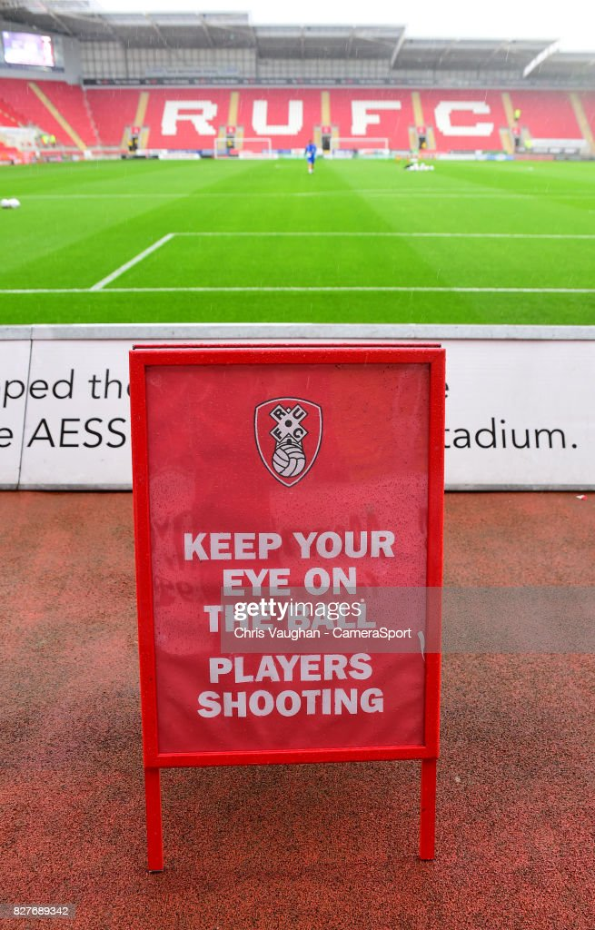 A general view of The AESSEAL New York Stadium, home of Rotherham United prior to the Carabao Cup First Round match between Rotherham United and Lincoln City at Millmoor Ground on August 8, 2017 in Rotherham, England.