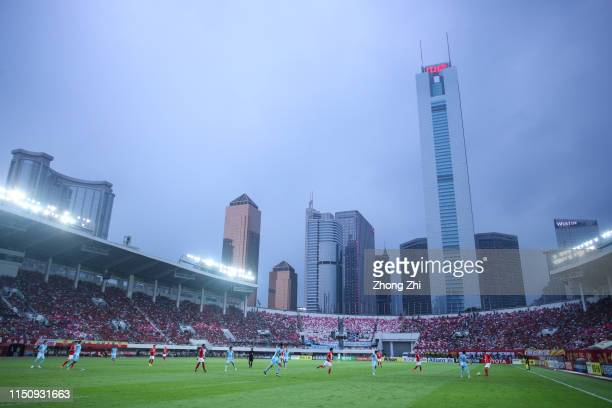 General view of the AFC Champions League Group F match between Guangzhou Evergrande and Daegu FC at Tianhe Stadium on May 22, 2019 in Guangzhou,...